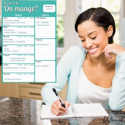 bloc note magnetique repas semaine courses frigo calepin carnet feuille page aimant