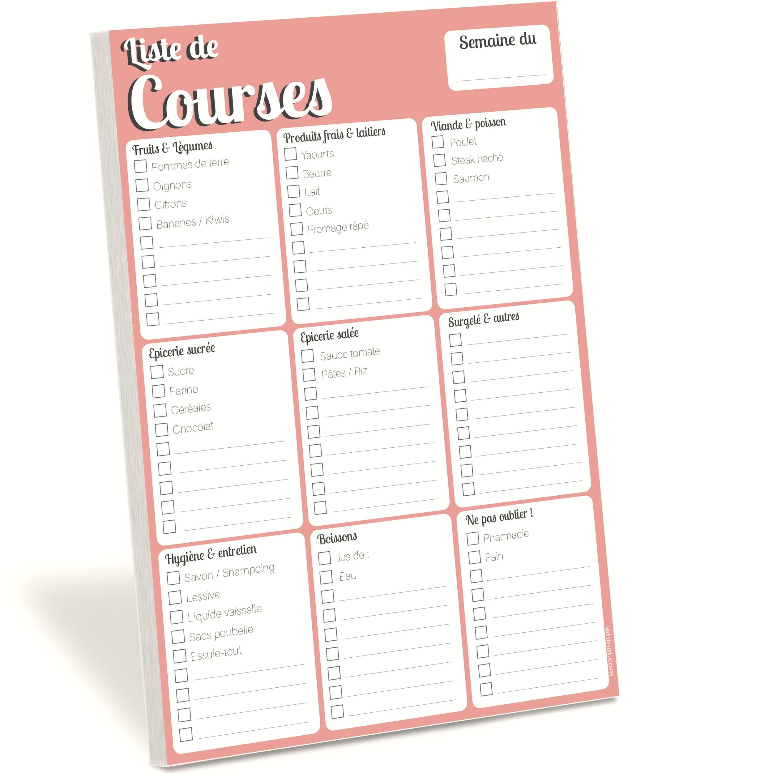 Bloc note magnétique frigo lsite de courses et menus liste de courses pour toute la semaine