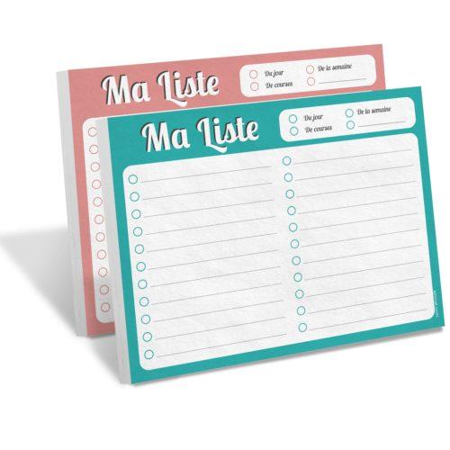 Bloc note MA LISTE Whinat to do list liste de courses repas menus menu rendez vous agenda