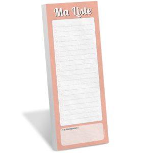 Bloc note magnetique frigo Whinat Ma Liste couleur peche