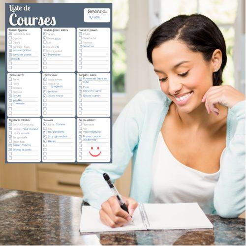 bloc note modifiable calepin list to do de courses frigo cuisine semaine hebdo aimant magnet