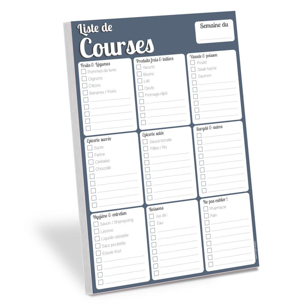 Planifier - Bloc note modifiable magnétique pour frigo - Liste de courses modifiable - courses liste shopping