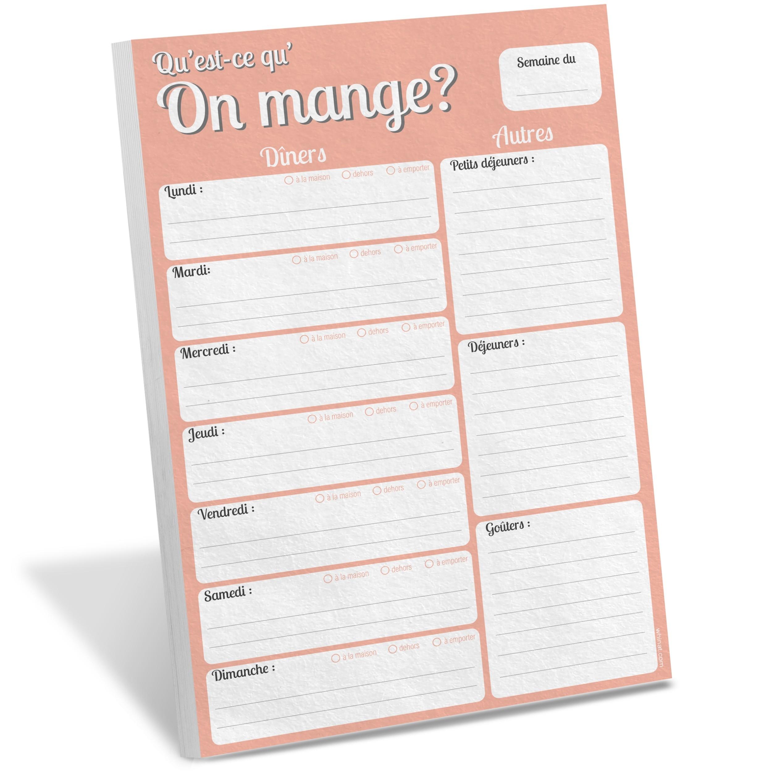 Bloc note magnétique frigo Qu'est ce qu'on mange ? - Liste des menus de la semaine pour toute la famille