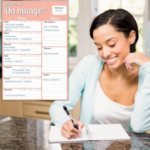 Bloc note modifiable magnétique frigo Qu'est ce qu'on mange ? - Liste des menus de la semaine calepin magnetique bloc note magnet repas menus semaine