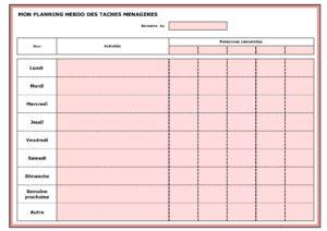 Planning hebdo des tâches ménagères - Gratuit - V1