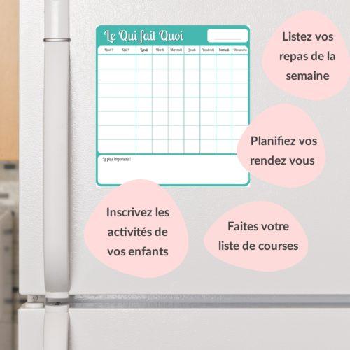 tableau magnétique frigo maison qui fait quoi tâches ménagères planning semaine quotidien