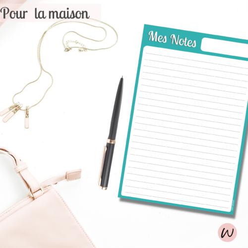bloc note papier MES NOTES pour ecriture & todo list