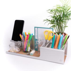 organiseur aluminium de bureau vide poche entree crayons papeterie bijou montre