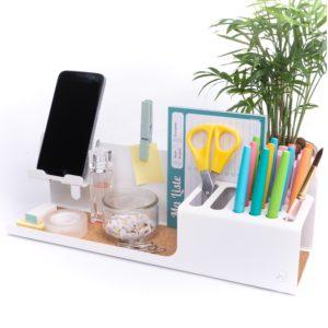 Organisateur W blanc durable, acier et design pour votre bureau